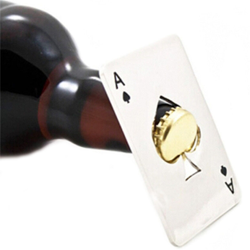 Creative Beer Bottle Opener Portable Stainless Steel Poker Playing Card of Spades Beer Opener Fashion Bar Tool