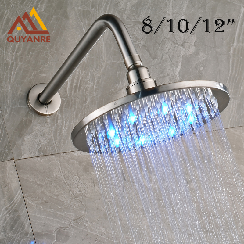 Free Shipping Wall Mounted Brushed Nickle Led Light Showerhead with Shower Arm 8/10/12 Inch 1 piece free shipping anodizing aluminium amplifiers black wall mounted distribution case 80x234x250mm