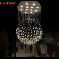 Modern Round Steel Stair Design Crystal Chandelier Staircase Lighting Fixtures For Stairway Lighting LT 91004