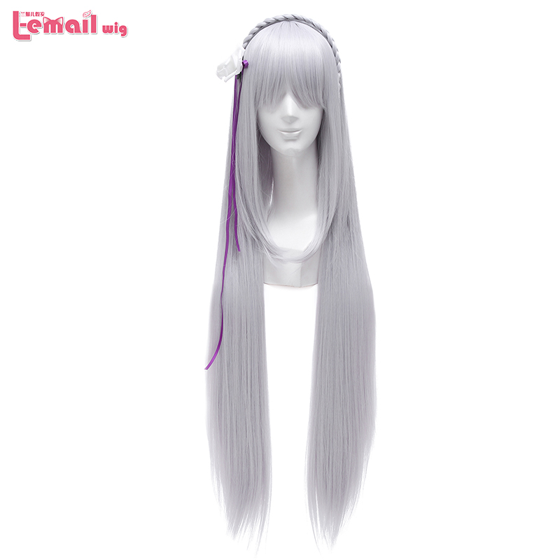 L-email Wig TV Re: Life In A Different World From Zero Emilia Cosplay Wigs Long Sliver Straight Cosplay Wig Synthetic Hair