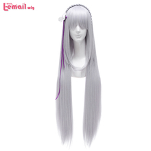 L email wig TV Re: Life in a Different World from Zero Emilia, perruque de Cosplay synthétique lisse, longue, argentée