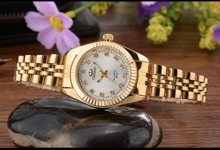 CHENXI Brand Top Luxury Ladies Gold Watch Women Golden Clock Female Women Dress Rhinestone Quartz Waterproof Watches Feminine 11