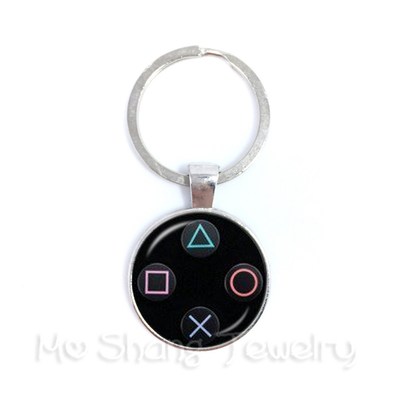 Creative Jewelry Art Picture Keychain Geeky Perfect Gift Idea Men Video Game Controller Man 25mm Glass Cabochon Keyring Gift
