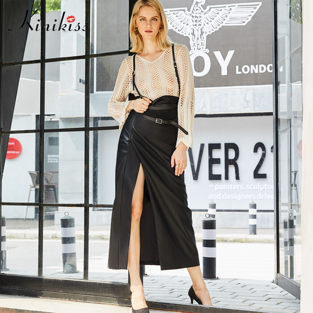 a563edf7f404 Kinikiss Women Fashion Faux Leather Skirts Black High Waist Empire Ankle  Length PU Skirt Female Sexy Split Long Maxi Skirts