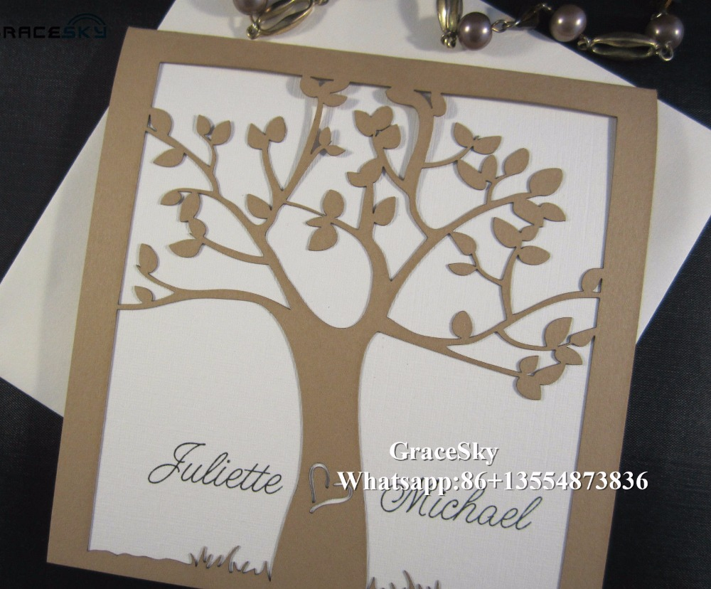50pcs Free Shipping Laser Cutting simple Happy Tree Design folded ...