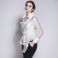 2017 Women Blouses Shirt Tops Fashion Striped Runway V Neck Blouse Long Sleeve Ladies Spring Summer Spring Tops Office Shirts
