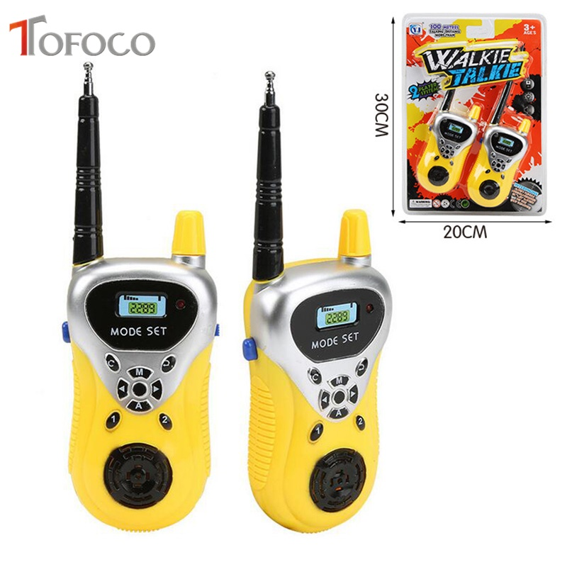 TOFOCO 2Pcs/Set Wireless Walkie-Talkie Radio Intercom 50M Blue Play Educational Toys For Children Toy Walkie-Talkie