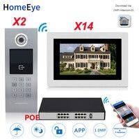 720 P WiFi ip видео дверной телефон видео 2 двери + 14 Householder домашняя система контроля доступа Пароль/RFID карта POE коммутатор iOS Android