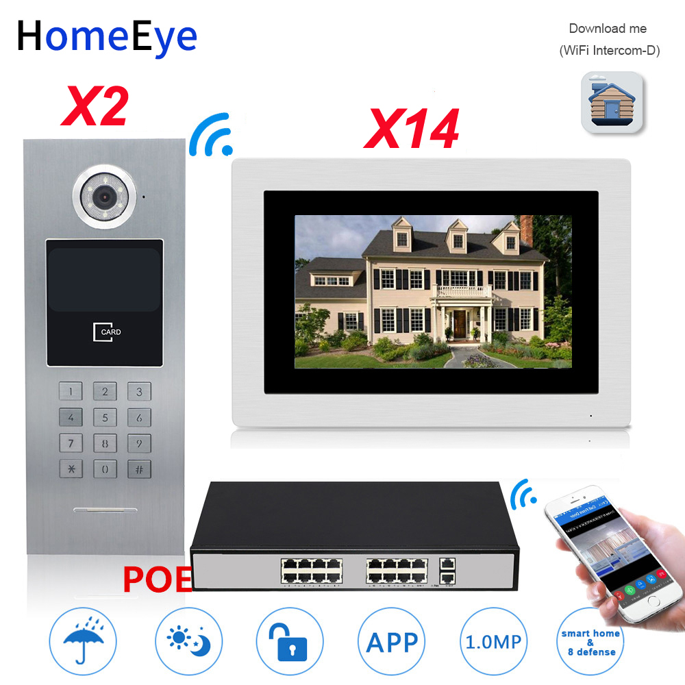 720P WiFi IP Video Door Phone Video 2 Doors+14 Householder Home Access Control System Password/RFID Card POE Switch IOS Android