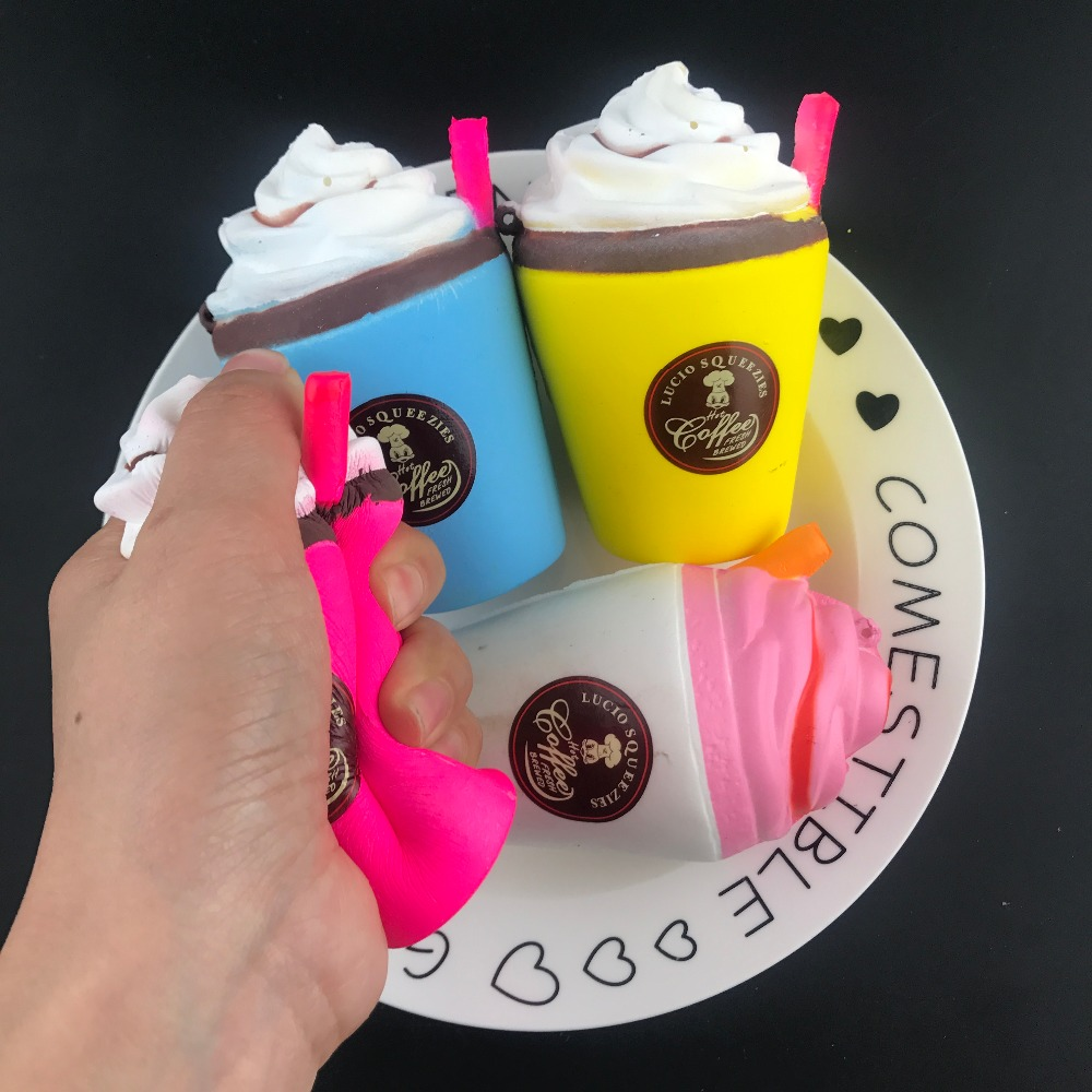 1Pcs Cute Squishy Coffee Cup Slow Rising Jumbo 10CM Milk Phone Strap Kawaii Pendant Soft Stretchy Bread Cake Kids Fun Toy Gift