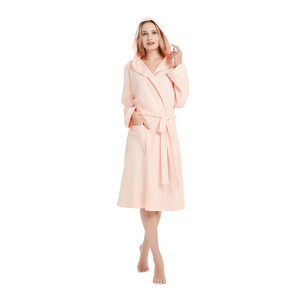 Hxroolrp Women Summer Solid Color Cotton Pajamas Nightgown Lingerie Bathrobe With Belt Robes Dressing Gown Shower Sleepwear D1