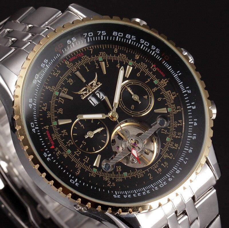 JARAGAR Große Zifferblatt Herrenuhren Top-marke Luxus Automatische Selbst wind Relogios Masculino Military Watch Mechanische Tourbillon Uhr