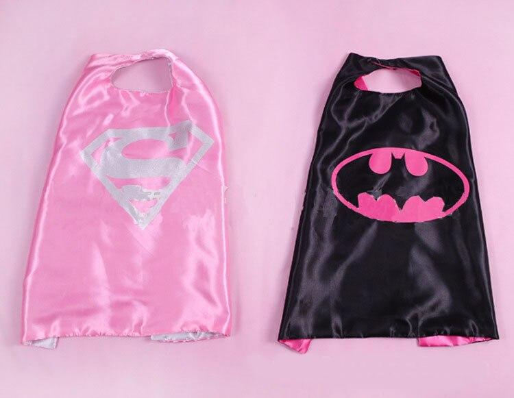 55 70cm kids superhero capes halloween black super hero cape