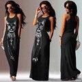 Dress venta caliente de la manera de las mujeres impreso animal cat chaleco mujeres summer dress sexy paquete de la cadera delgada sin mangas vestidos largos