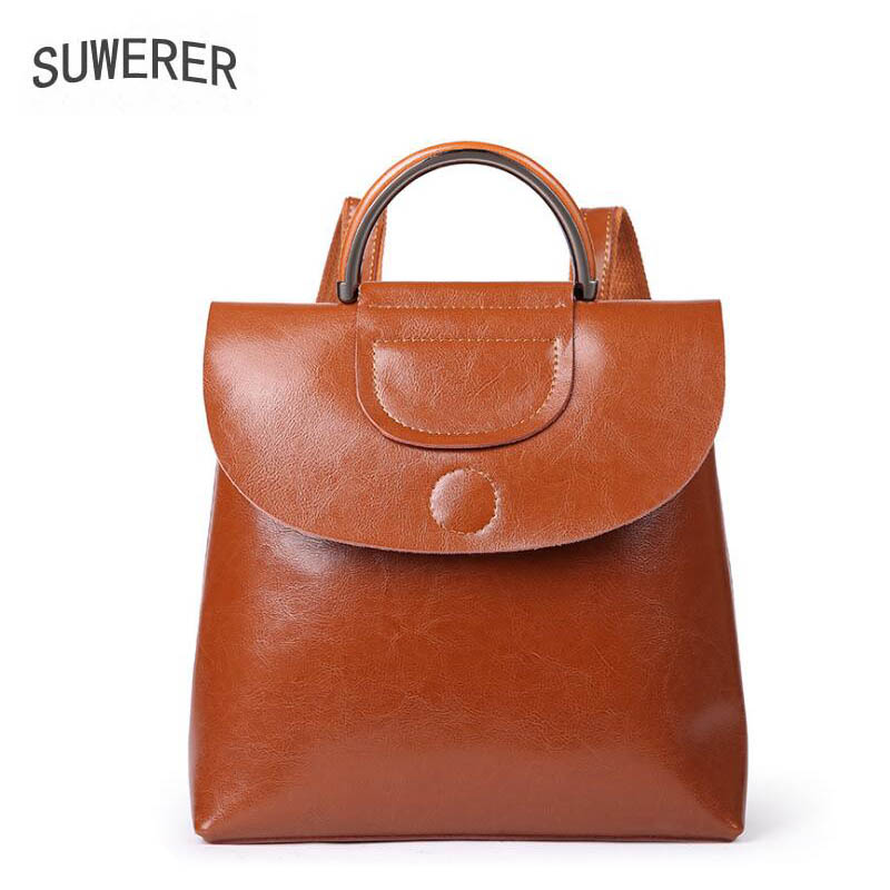 2018 New women bag superior Leather brands women leather backpack quality cowhide fashion Solid color women bags hot sale women s backpack the oil wax of cowhide leather backpack women casual gentlewoman small bags genuine leather school bag