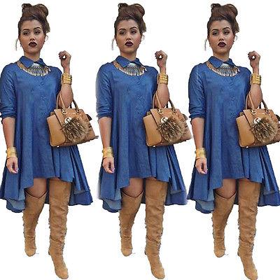 62bbc2b82f Vintage Sexy Women Loose Long Sleeve Denim Shirt Dress Casual Jeans Mini  Dress