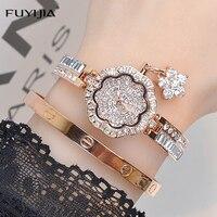 Luxury Women S Watch Fashion FUYIJIA Quartz Watch Ladies Rose Gold Dress Watch Steel Full Diamond