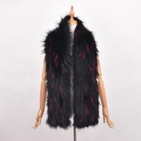 100% Natural Fur Shawl Luxury Silver Fox Fur Collar Scarf Women Real Fox Collars Down Wear Scarf