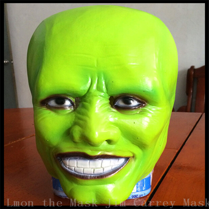 Free shipping Halloween Creepy Adult Latex Trick Jim Carrey The Mask Latex Green Face Mask Movies Face Head Mask Cool Movie Mask image