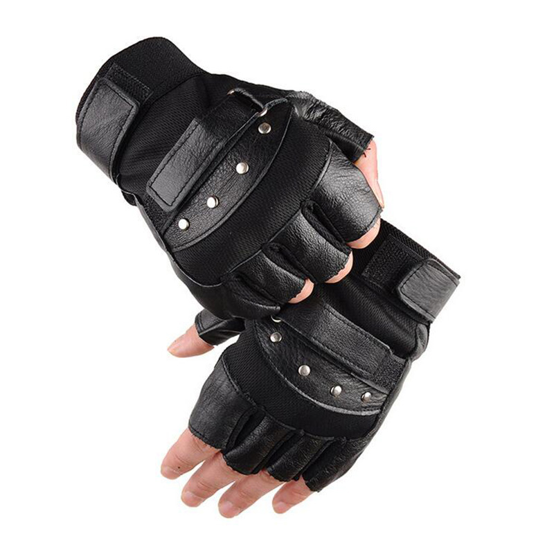 Mens Army Military Tactical Half Finger Leather Fitness Gloves Bike Sport Gloves Gym Exercise Men Black Rivets Punk Gloves G135