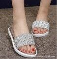 2016 Verão Nova Lantejoulas Mulheres Casuais Plana Slip-on Dedo Do Pé Aberto Sapatos de praia Mulheres Sanglaide Flip Chinelos de Dedo Sandálias & Flip Flops40