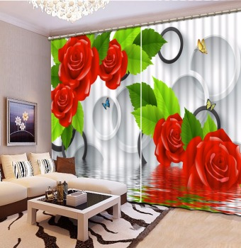 3D Curtain Custom any size Curtain Living Room Butterfly In Water Round flower Curtains Design Blackout Shade Window Curtains