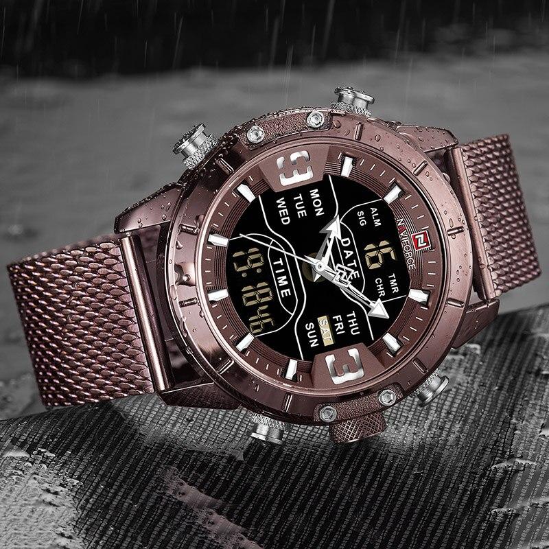 NAVIFORCE Analog Digital Watches Men Luxury Brand Stainless Steel Sports Men's Watches Digital Waterproof Man Watch 2019 Sport