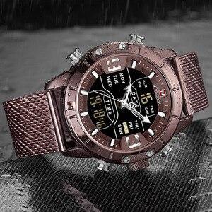 Image 4 - Naviforce relógios masculinos, relógios analógicos digitais de aço inoxidável à prova dágua para homens, relógio esportivo 2019