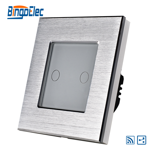 wireless 2gang 2way remote touch light switch ,silver aluminum frame with glass panel,EU/UK standard AC110-240V,Hot Sale 2017 smart home crystal glass panel wall switch wireless remote light switch us 1 gang wall light touch switch with controller