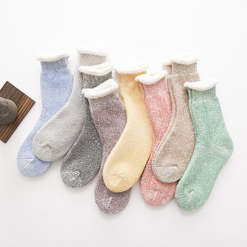 Women Socks Winter 1 Pair Long Thick Warm Socks Girls Korea Cotton Solid Color Fashion Winter Socks Women