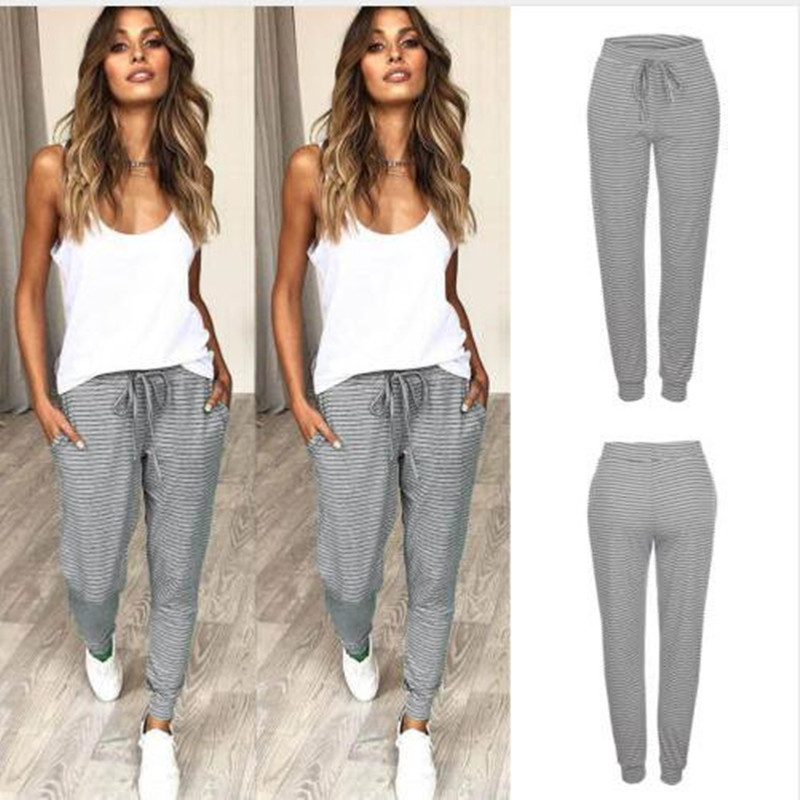 2019 Stylish Women's Slacks Stripe Drawstring Loose-fit Jogger Dance Slacks S-xl