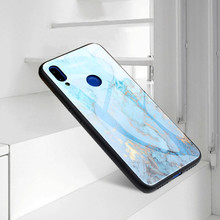 Marble Shockproof Cover For Xiaomi Redmi 6 Note 6 Pro Note 7 Tempered Glass Cases Phone Case For Xiaomi Mi 9 Soft TPU Back Cover for redmi note 7 6 pro case luxury hard tempered glass fashion marble protective back cover case for xiaomi mi 9 full cover