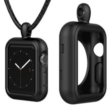 Silicone Case Cover 38mm/42mm,40mm/44mm Clip Stand Holder Frame, Clasp Strap Necklace rope for Apple Watch Iwatch Series 1/2/3/4(China)