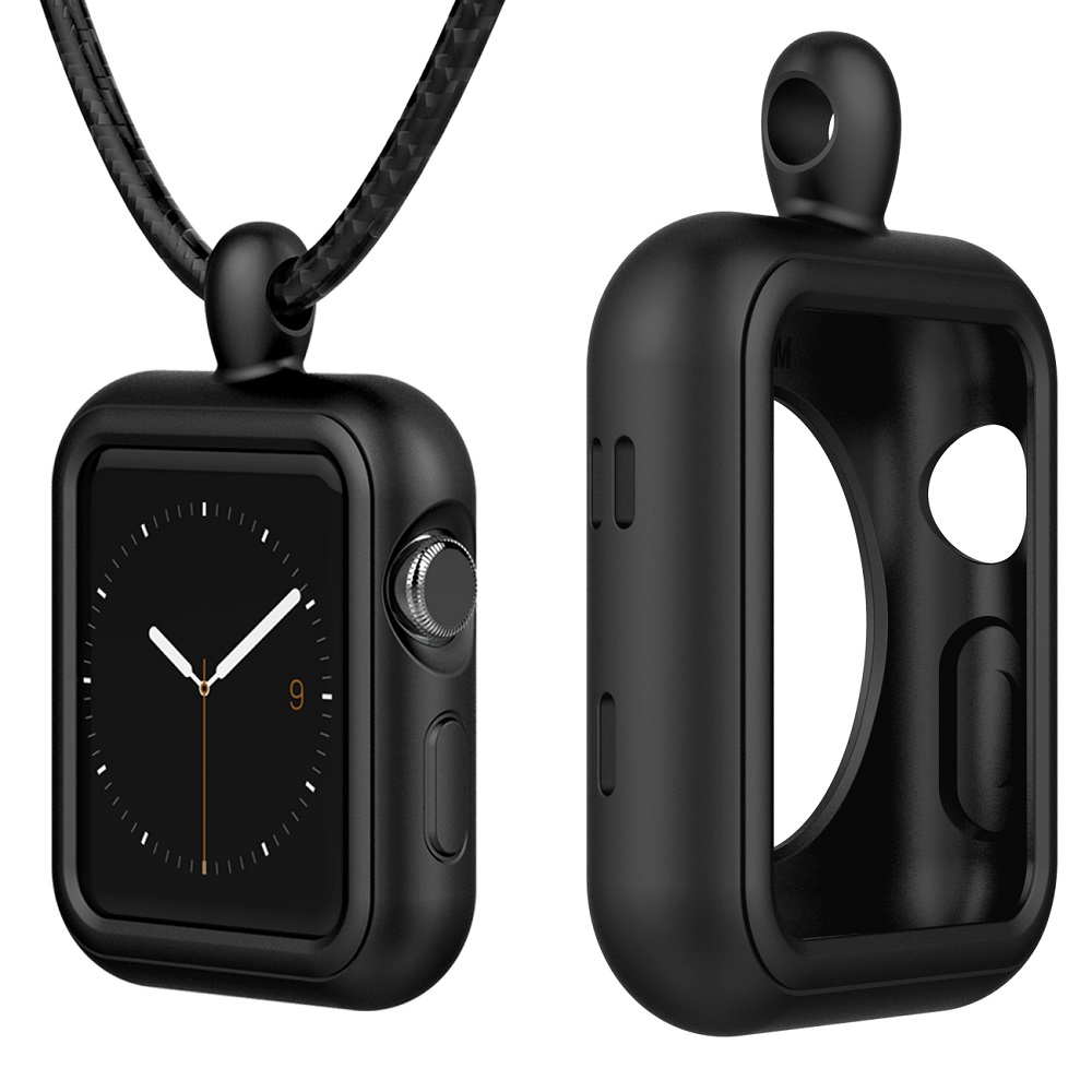 Silicone Case Cover 38mm 42mm Clip Stand Holder Frame,Replacement Accessories Clasp Strap Necklace for Apple Watch Series 1/2/3