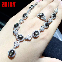 Real natural star sapphire jewelry set gem stone woman sets solid sterling silver white gold plated prom noble precious jewelry
