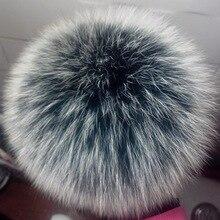 DIY натуральный Лисий Мех пушистый помпон для шапки натуральный Лисий мех большой шар помпон для шапки Skullies 12-13 см