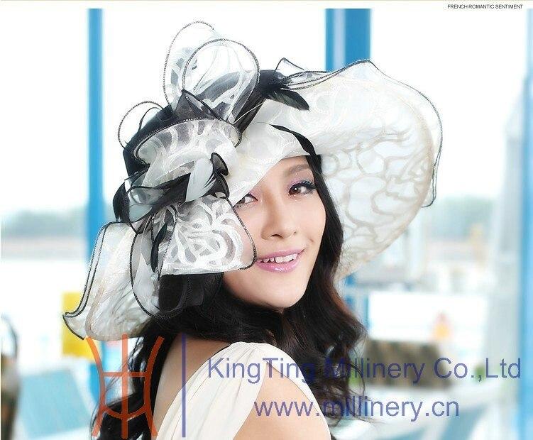 משלוח חינם יוני'syoung אופנה הקיץ אורגנזה כובעים עבור נשים אלגנטי הגברת Fedoras כובעים שני כובעים חבילה זולה יותר חדש חם
