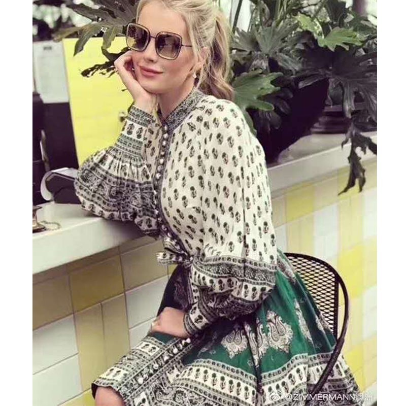 CCCC Women Summer Boho Print Linen Dress Stand Collar Single Breasted Long Sleeve Dress Casual Party Dresses ZIM 2019