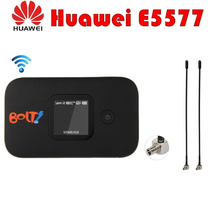 Unlocked Hot Sale CAT4 150Mbps HUAWEI E5577 Portable 4G LTE WiFi Wireless Router with LCD Plus 4G TS9 AntennaUnlocked Hot Sale CAT4 150Mbps HUAWEI E5577 Portable 4G LTE WiFi Wireless Router with LCD Plus 4G TS9 Antenna