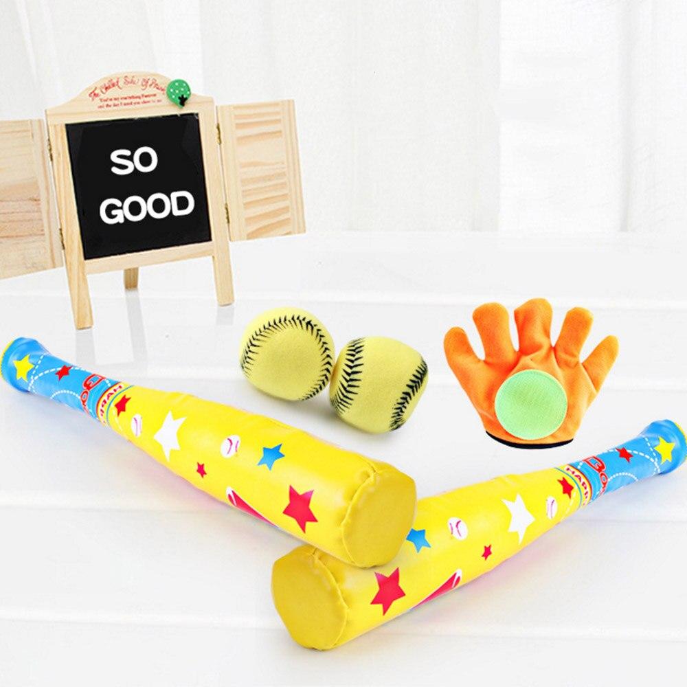 4 יח'\סט תינוק חיצוני ספורט בייסבול צעצועי סט רך בייסבול צעצועי בת כפפות כדור סט לילדים בית ספר ילדי משחק משחק מתנה