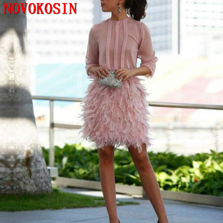 2019 Pink Short Feather Chiffon Cocktail Dresses Long Sleeves Open Back With Bow Party Dresses For Special Occasion Prom Gown