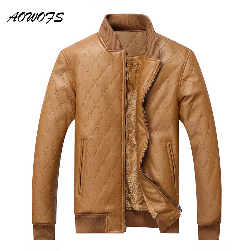 AOWOFS Mens Leather Winter <font><b>Bomber</b></font> <font><b>Jacket</b></font> Faux Fur Male Coats Warm Casual Quilting PU Khaki <font><b>Jacket</b></font> Men American Style Big Size