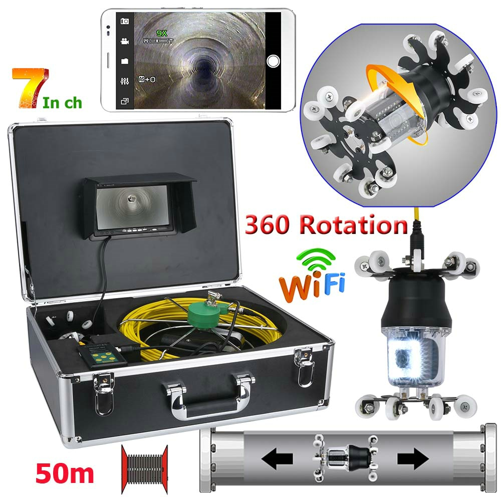 7 inch WiFi Wireless Pipe Inspection Video Camera Drain Sewer Pipeline Industrial Endoscope IP68 360 Degree Rotating Camera