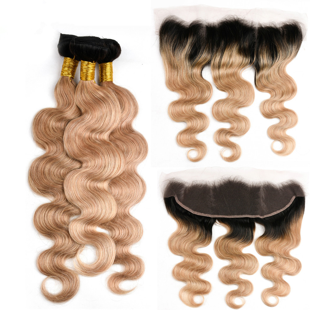 MQYQ T1b 27 Dark Root Blonde Brazilian Body Wave 3 Bundles With Lace Frontal Closure Remy