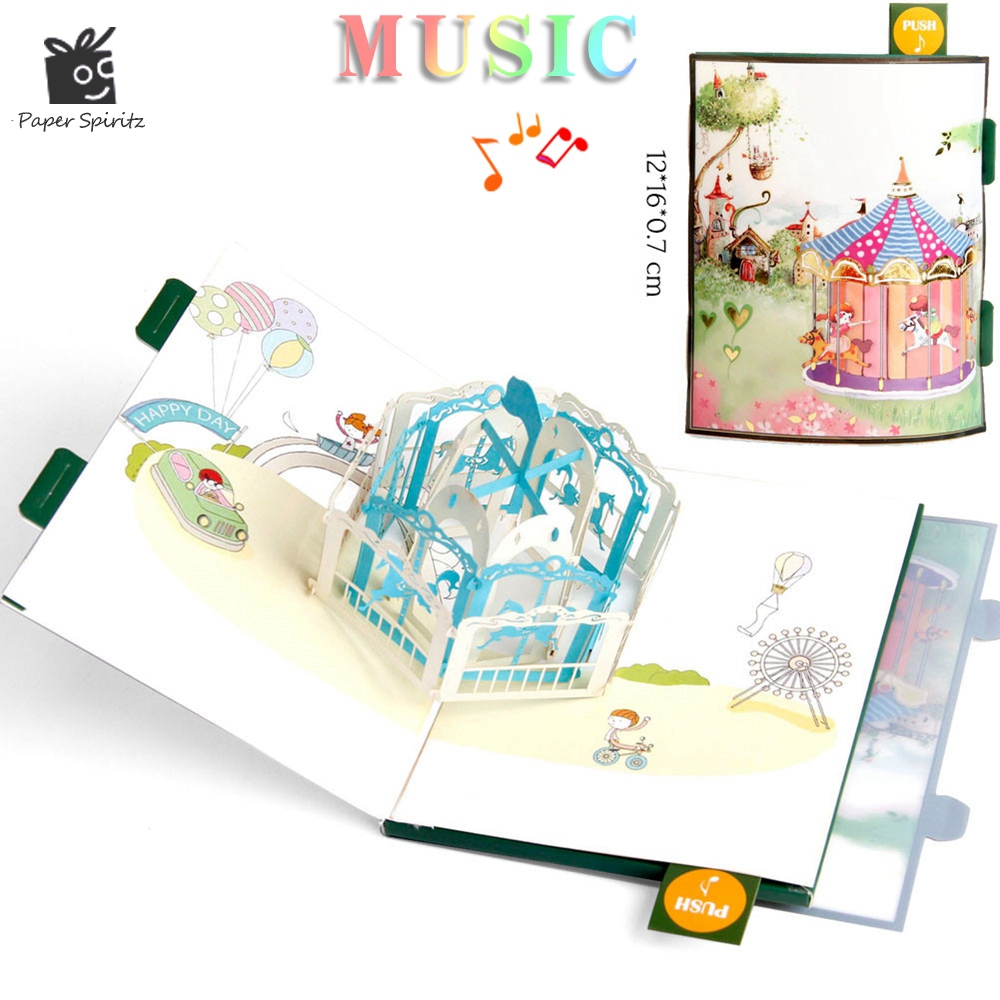 Anime Postcards Handmade 3D Pop UP Musical Greeting Cards Happy Birthday Paper with Envelope Gift Message Card for Baby 3d pop up the god of wealth creative gifts for birthday post card greeting cards holiday 1411r