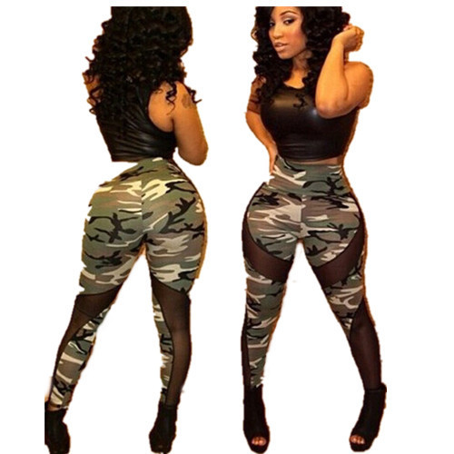 Army Camo Leggings 2017 New Women Fashion hot sale camouflage stretchy high waist mesh patchwork legging skinny boots pants
