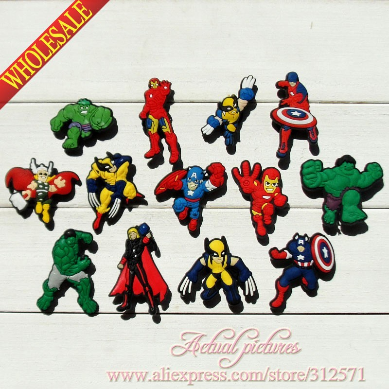 Free Shipping 100pcs/ Lot Avengers,PVC shoe decoration/shoe charms/shoe accessories Party gift, Birthday gift. free shipping new 100pcs avengers pvc shoe charms shoe accessories shoe buckle for wristbands bands