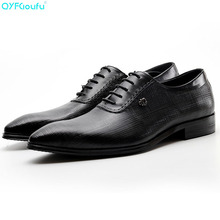 New Genuine Cow Leather Pointed Toe Business Shoes Men Fashion Dress Shoes Oxfords Black Red Wine Lace-up Formal Shoes