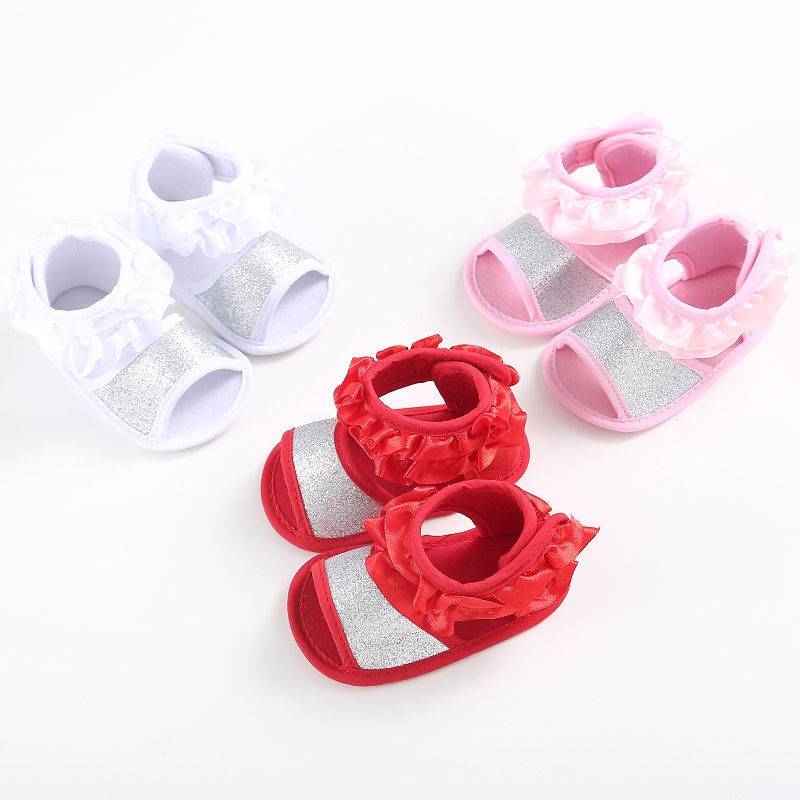 Fashion Newborn Baby Girl Ruffles Sequins Sandal Summer Shoes Anti-slip Soft Sole Footwear Crib Shoes Prewalker Cute Sneaker