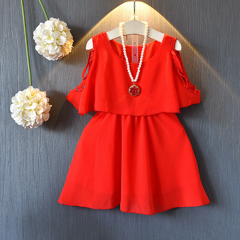 2018 New Summer Style Child Clothing Kids Girl Princess Dress Solid Red Black Cute A-line Wedding Dew Shoulder Party Dress 2-8Y black dress with cold shoulder